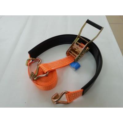 Ремень стяжной для автоэвакуатора с J - образным крюком и резиновым контроллером 3/6 тонн 3 метра